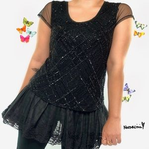 Papell Boutique Evening Sequin Top